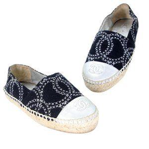 Chanel Stitch Canvas Cc Cap Toe Espadrille Flats